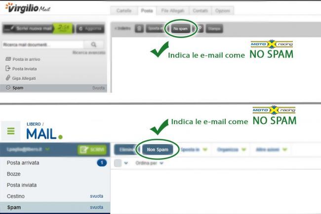 Indica alla gestione della tua webmail che motoxracing non è spam